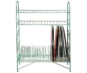 Urban Outfitters Teal Vinyl Record Storage Shelf