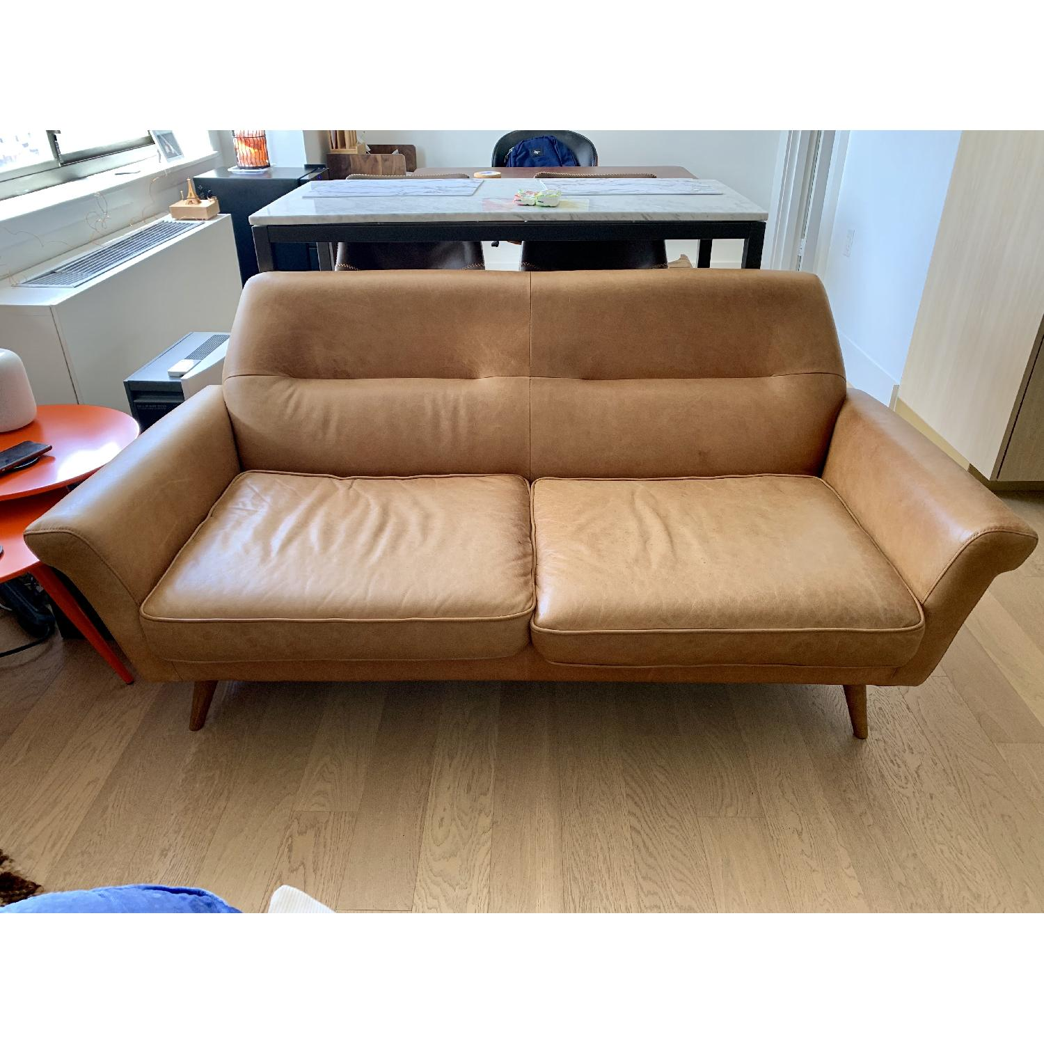 Fabulous West Elm Denmark Leather Loveseat Aptdeco Unemploymentrelief Wooden Chair Designs For Living Room Unemploymentrelieforg