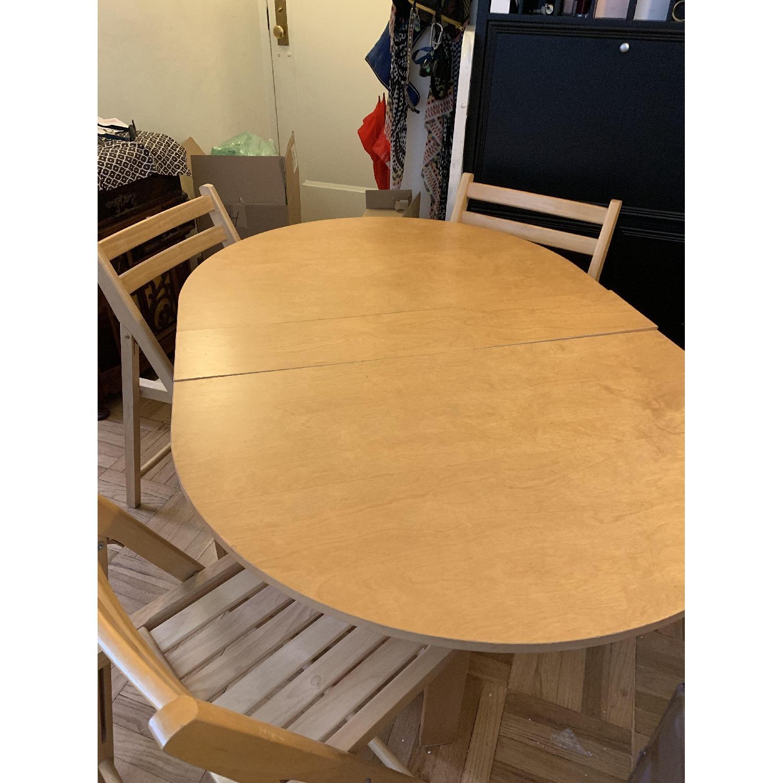 Foldable Oval Wood 5-Piece Dining Set - image-1