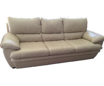 La-Z-Boy White Leather Sofa + Chair