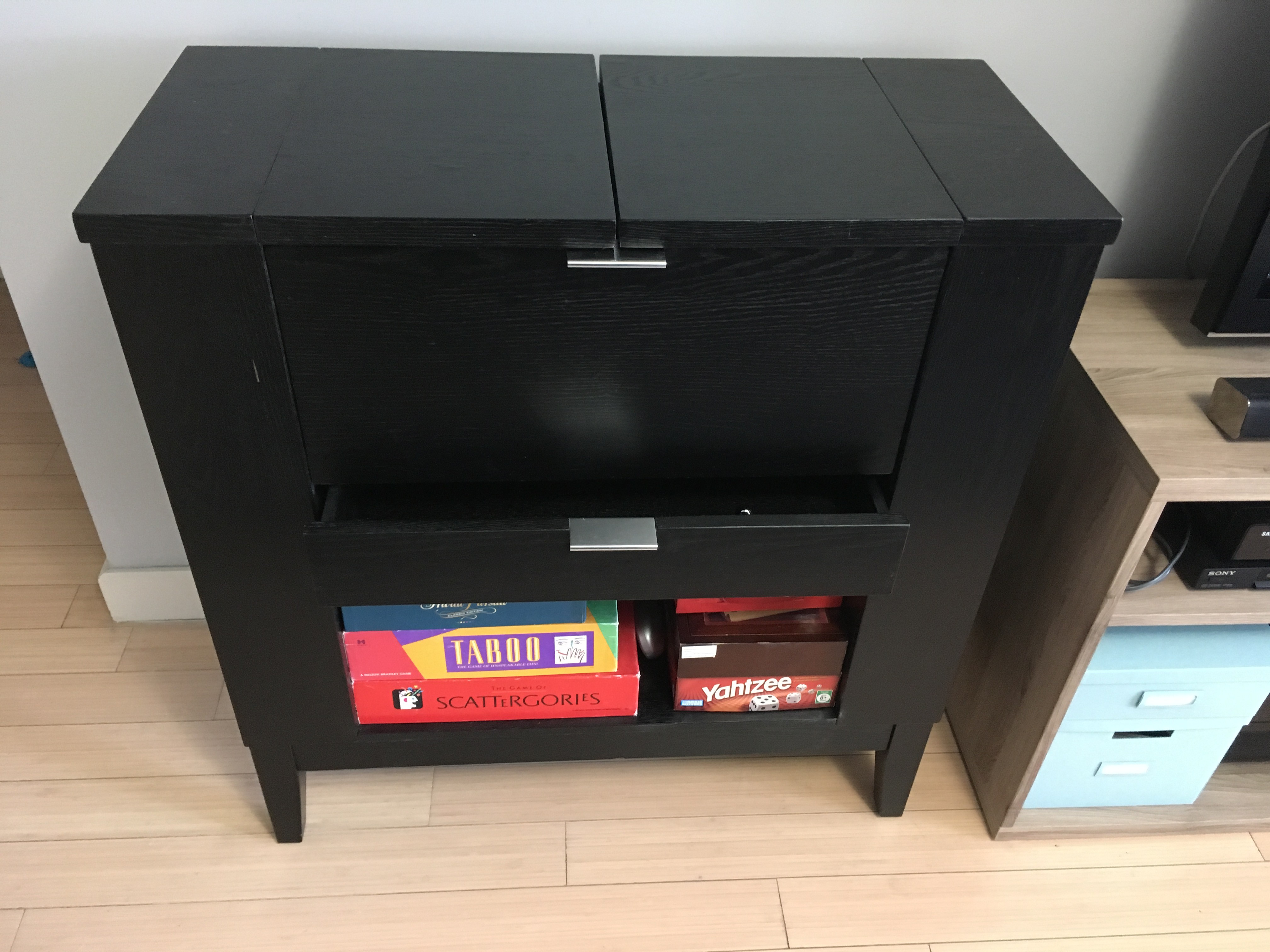 Crate & Barrel Parker Bar Cabinet in Ebony