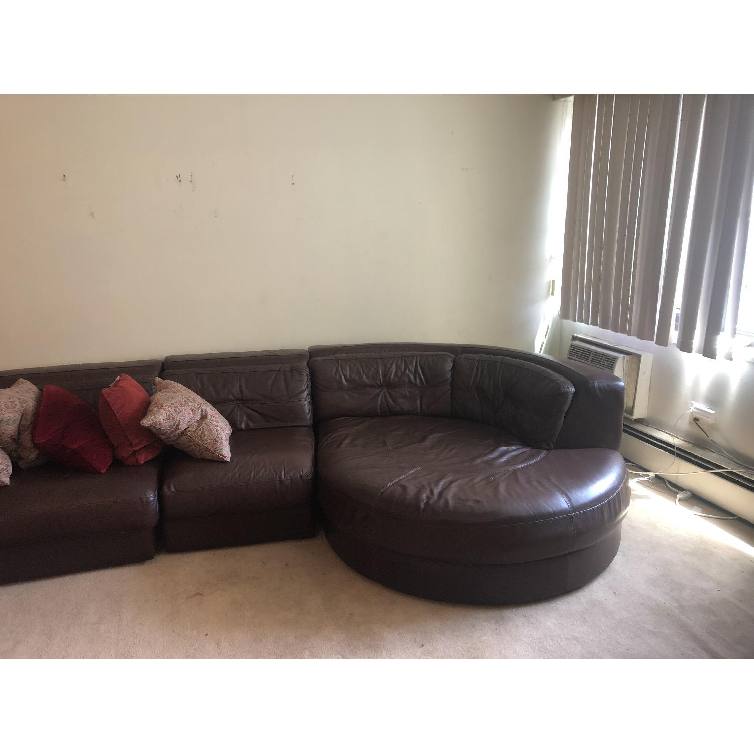 Raymour & Flanigan Austin 3 Piece Leather Sectional Sofa - image-2