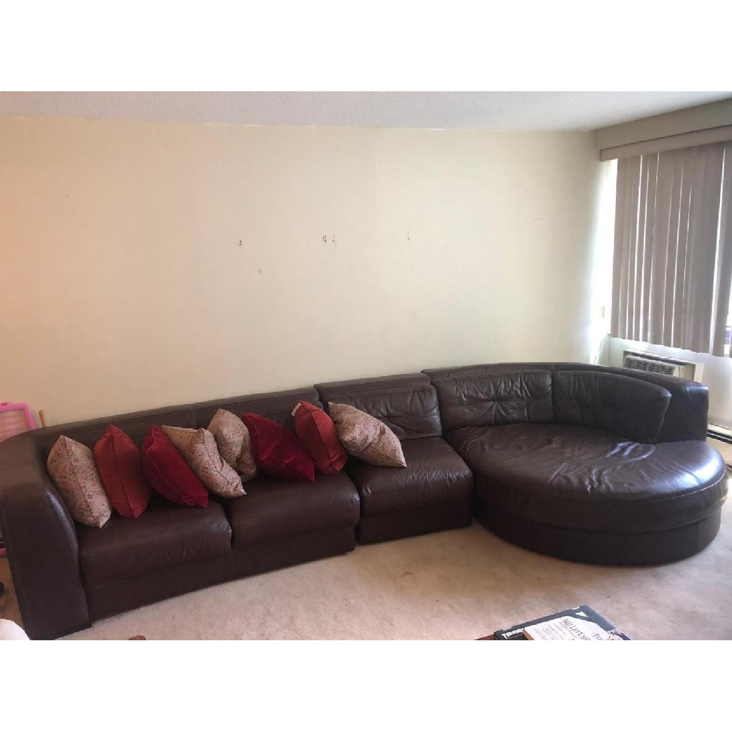 Raymour & Flanigan Austin 3 Piece Leather Sectional Sofa - image-8