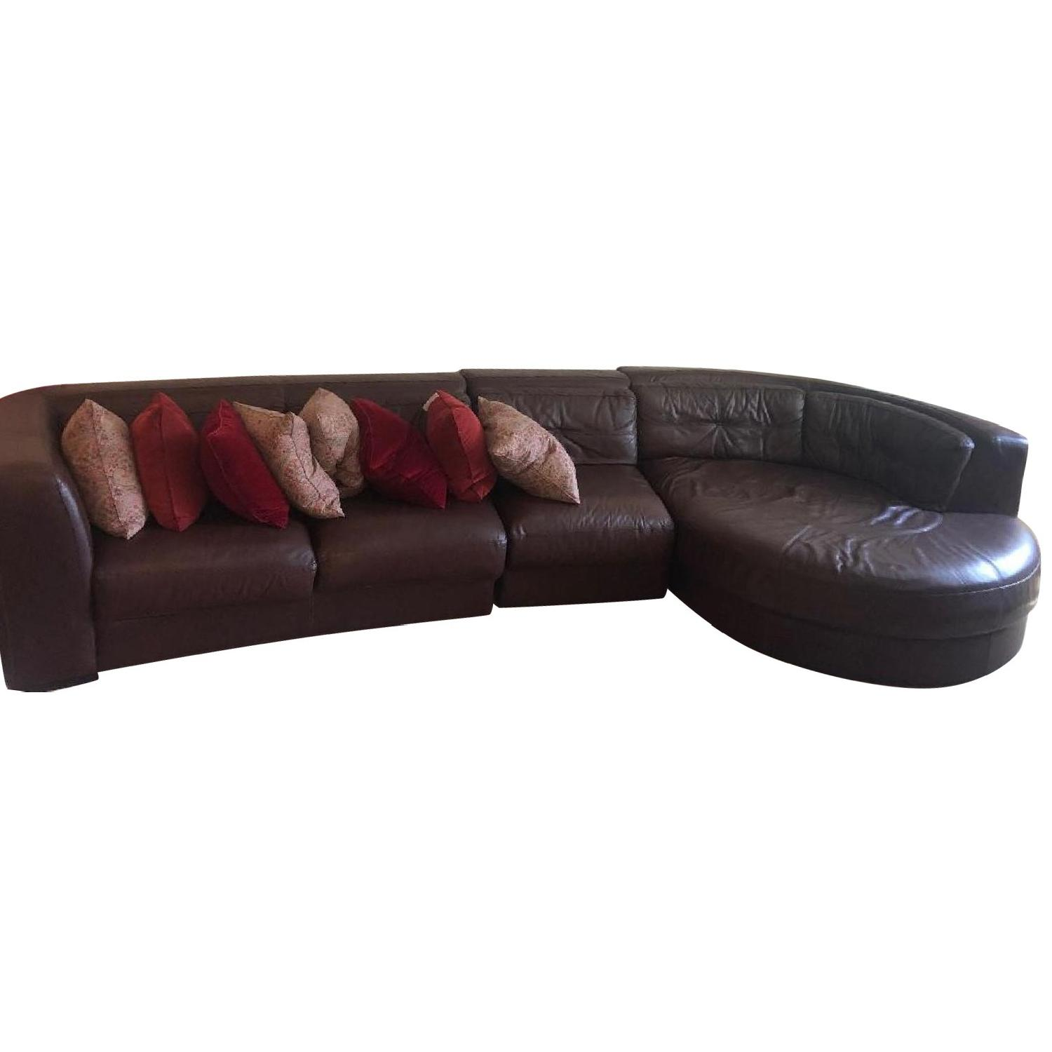 Raymour & Flanigan Austin 3 Piece Leather Sectional Sofa - image-0