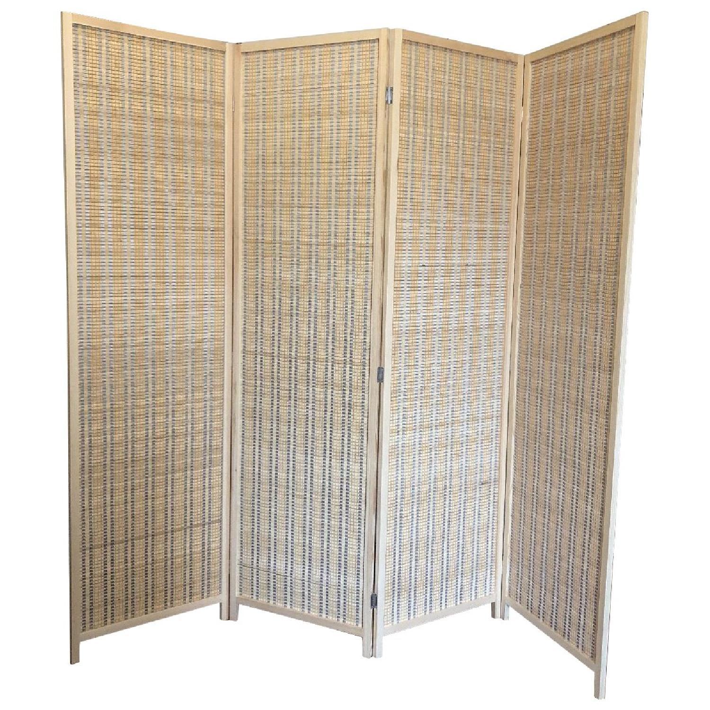 Wood 4-Panel Room Divider - image-0