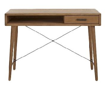 Crate & Barrel Marco Oak Wood w/ Iron Braces Desk