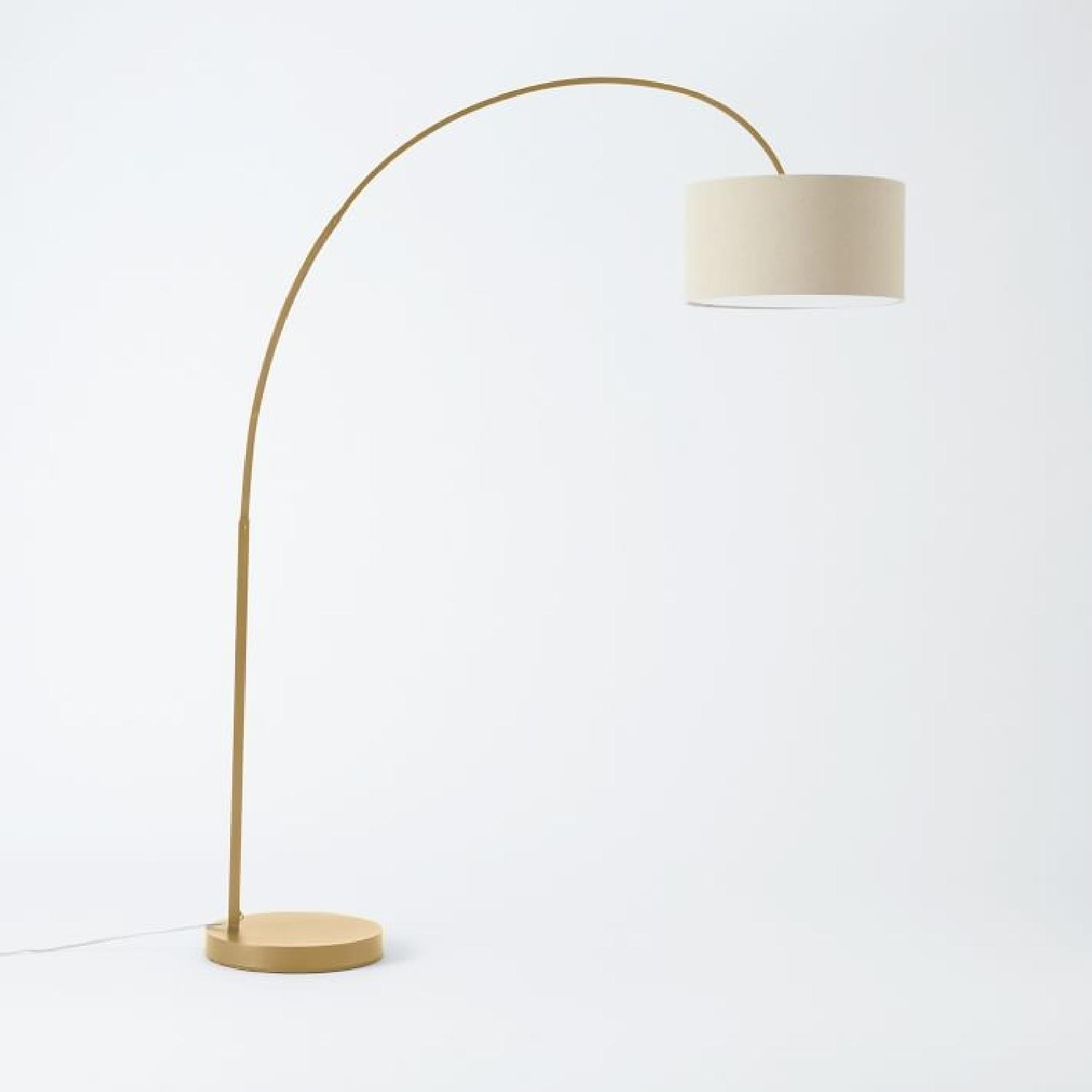 West Elm Overarching Floor Lamp in Antique Brass - image-3