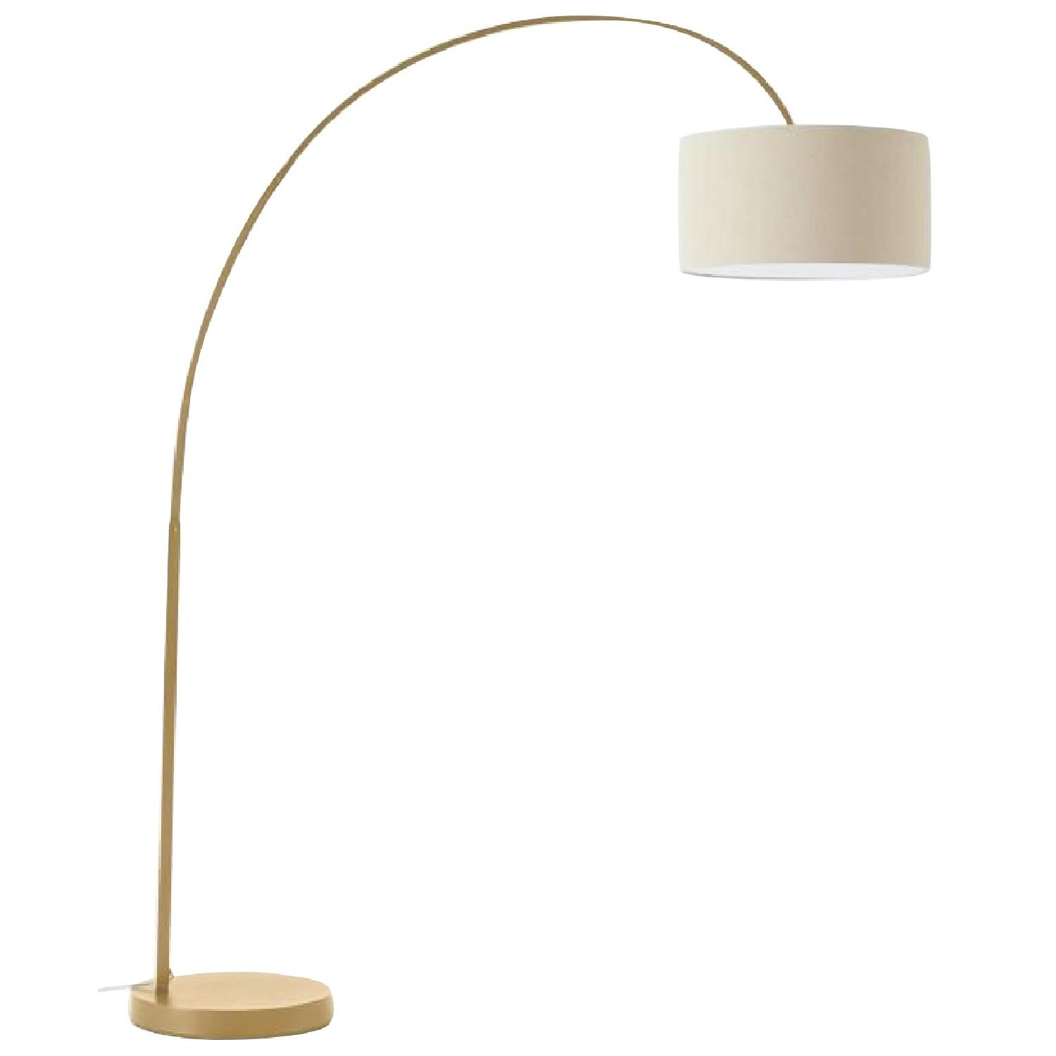 West Elm Overarching Floor Lamp in Antique Brass - image-0
