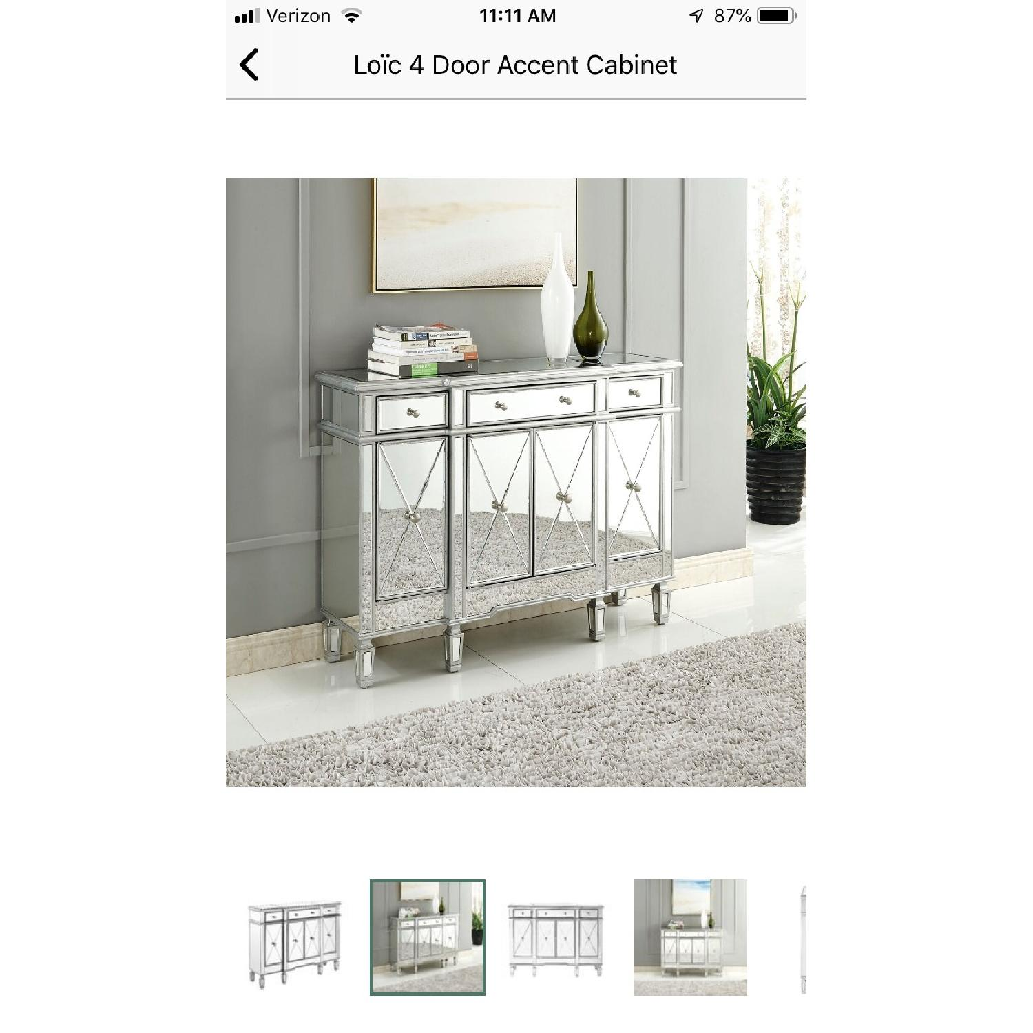 Lamonde Silver Mirrored Cabinet w/ Removable Wine Rack - image-1