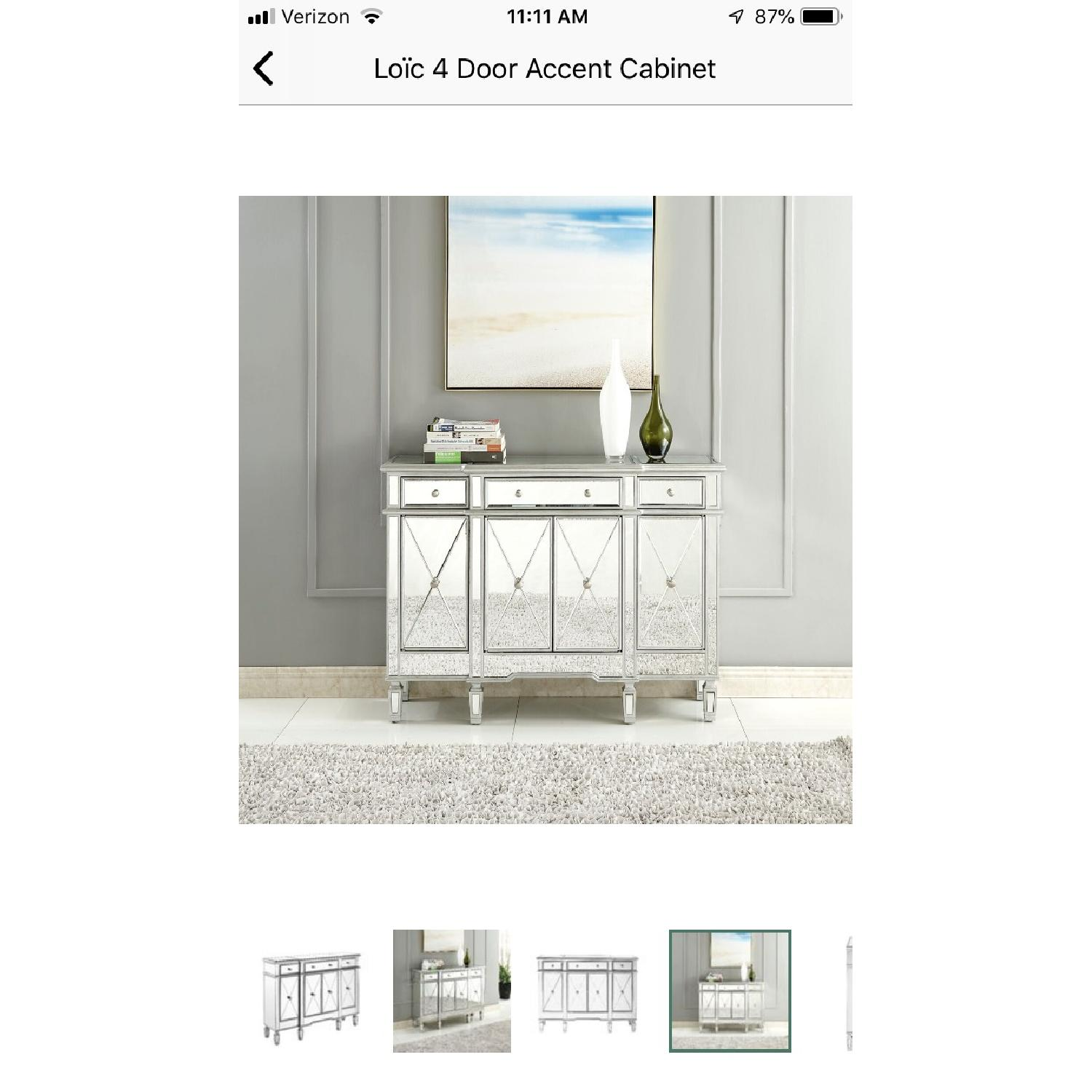 Lamonde Silver Mirrored Cabinet w/ Removable Wine Rack - image-2