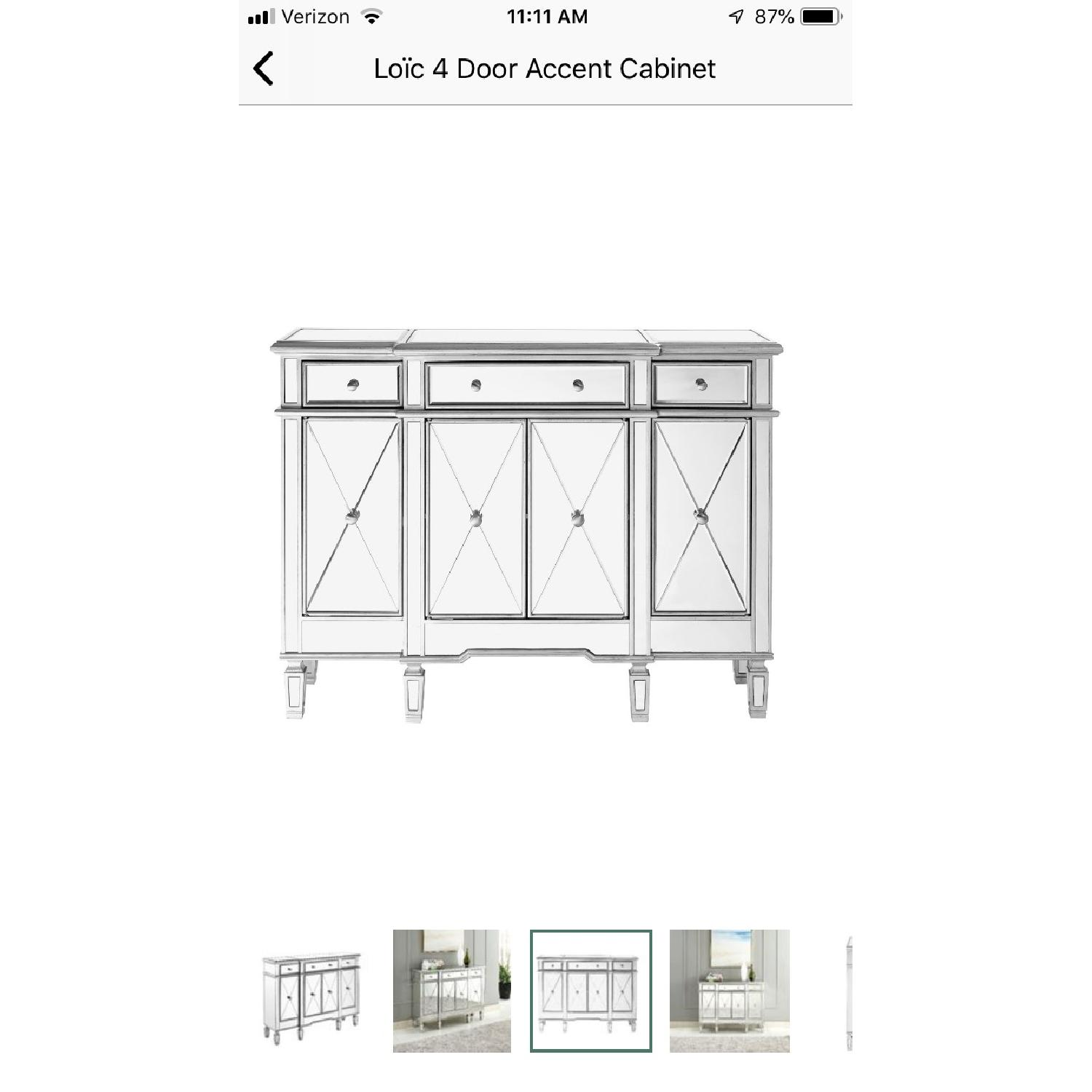 Lamonde Silver Mirrored Cabinet w/ Removable Wine Rack - image-4
