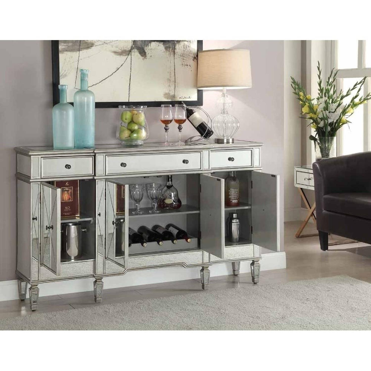 Lamonde Silver Mirrored Cabinet w/ Removable Wine Rack - image-5
