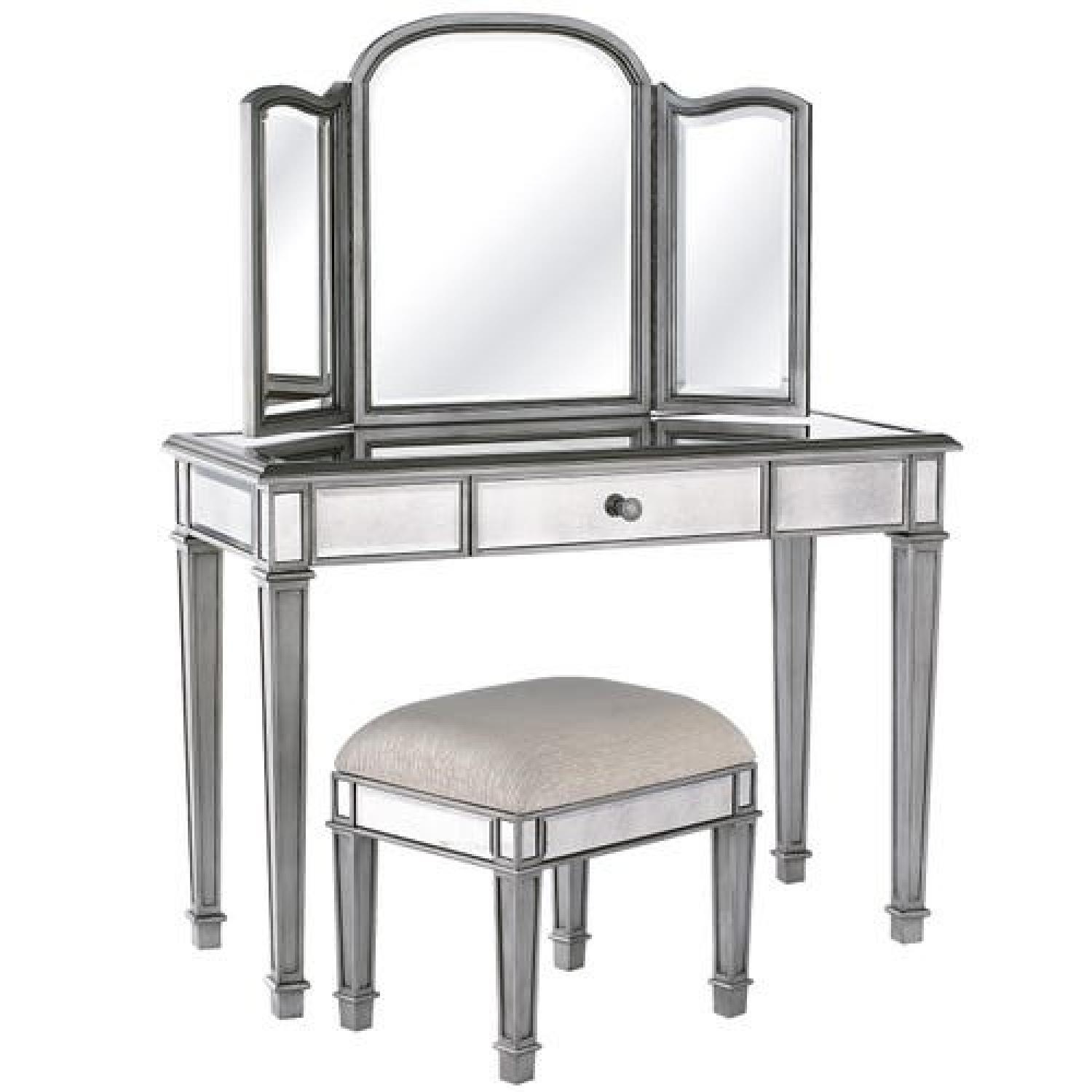 Pier 1 Hayworth Silver Mirror & Vanity Set - image-0