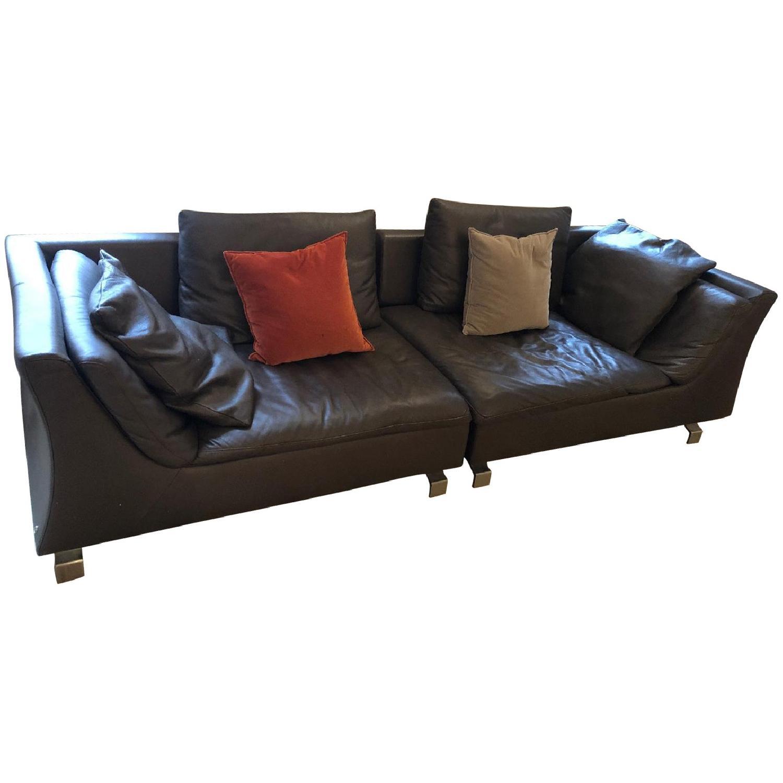 Natuzzi Brown Leather 2-Piece Sectional Sofa - AptDeco