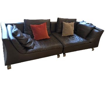 Natuzzi Brown Leather 2-Piece Sectional Sofa
