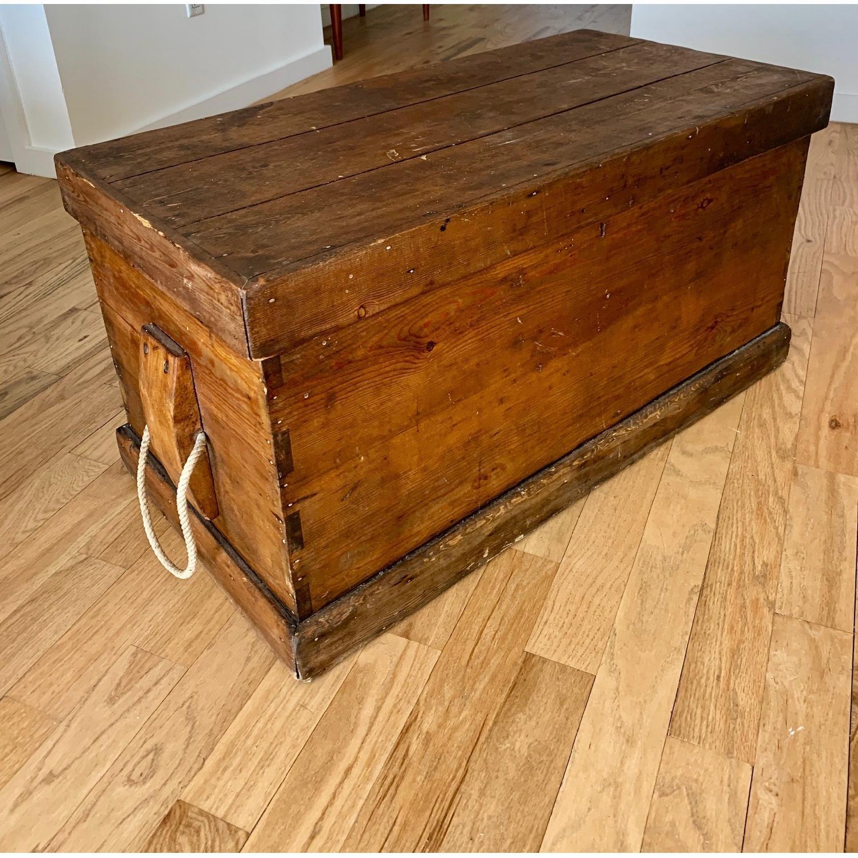 Antique Wood Trunk - image-1