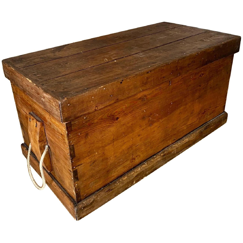 Antique Wood Trunk - image-0