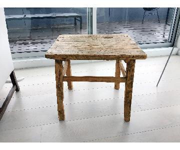 ABC Carpet & Home Antique Solid Elm Side Table