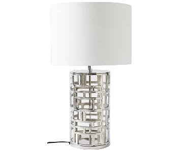 West Elm Silver Geometric Table Lamp