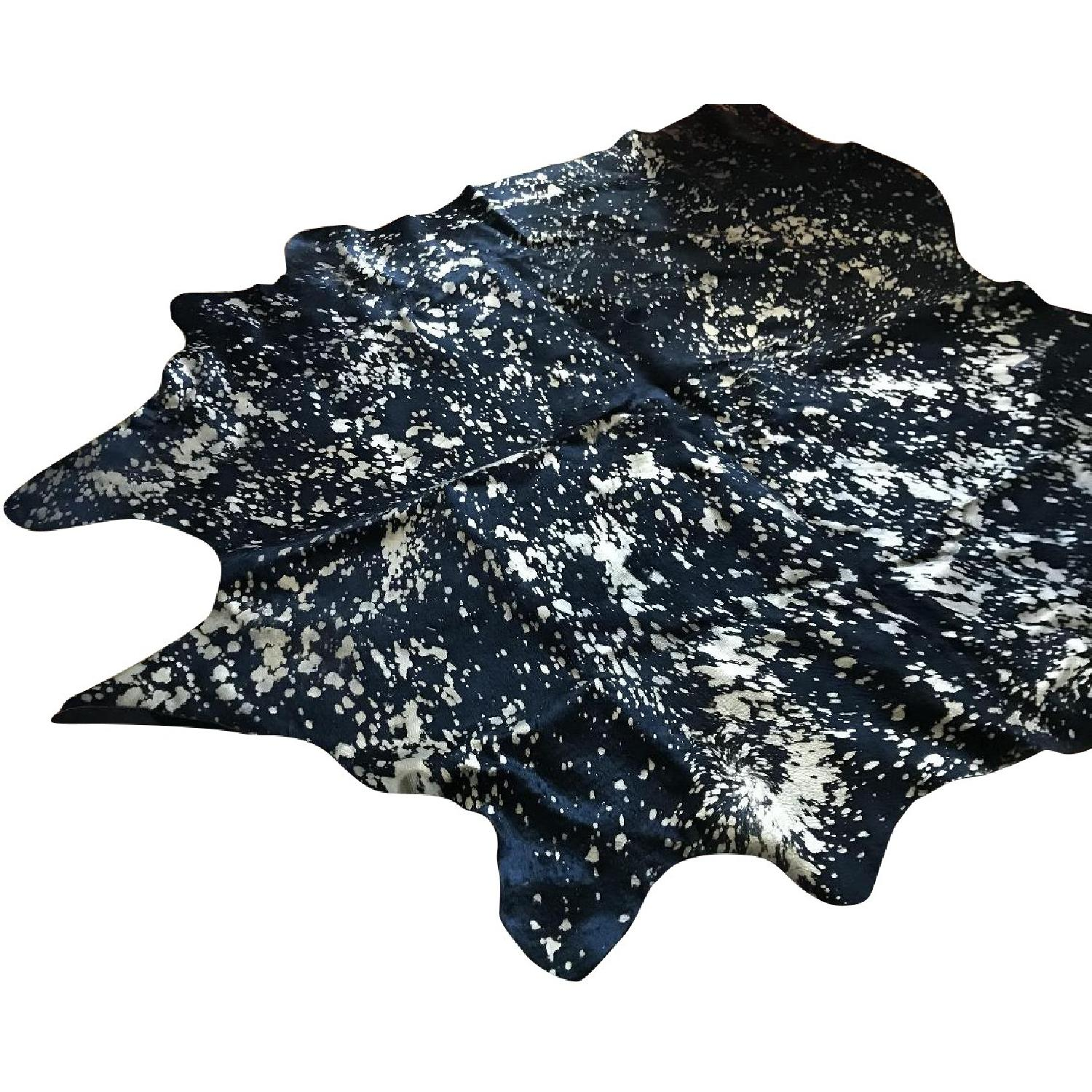 Mina Victory Black and Gold Cowhide Rug - image-0