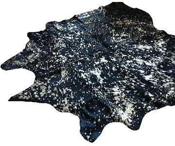 Mina Victory Black and Gold Cowhide Rug