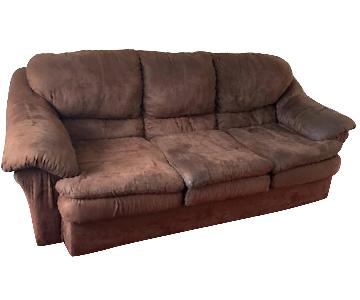 Brown Suede 3-Seater Sofa