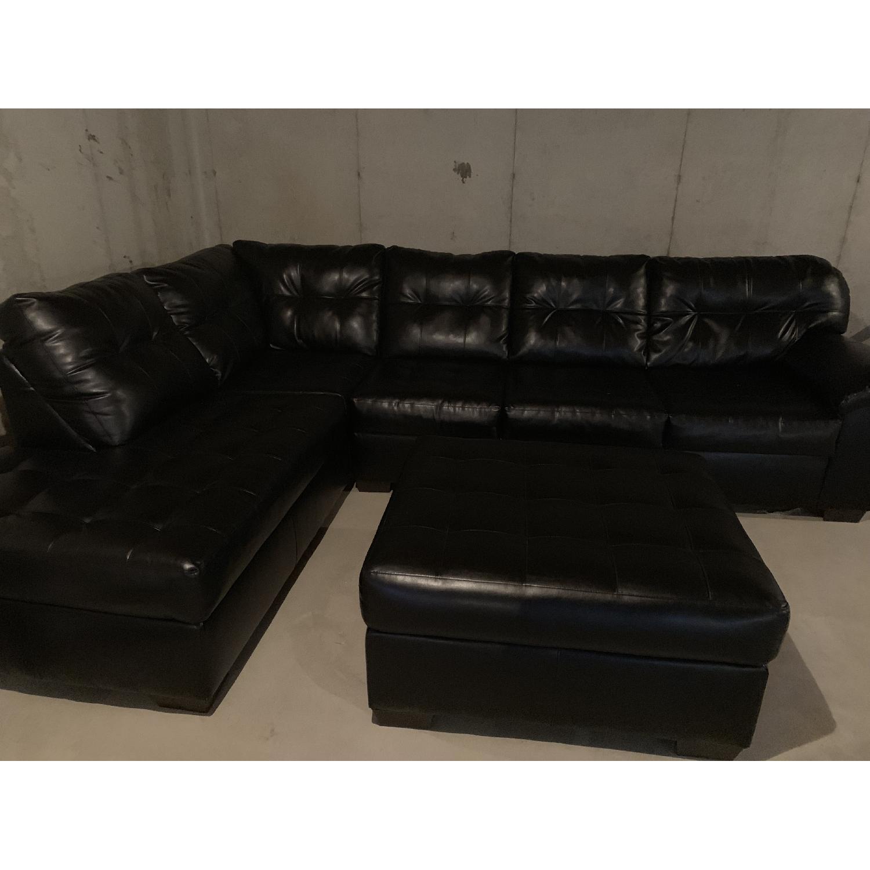 Bob's Black 3 Piece Sectional Sofa - image-3