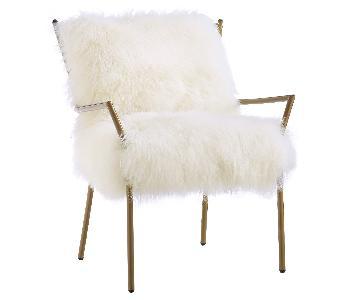 TOV Furniture White & Gold Lena Sheepskin Chair