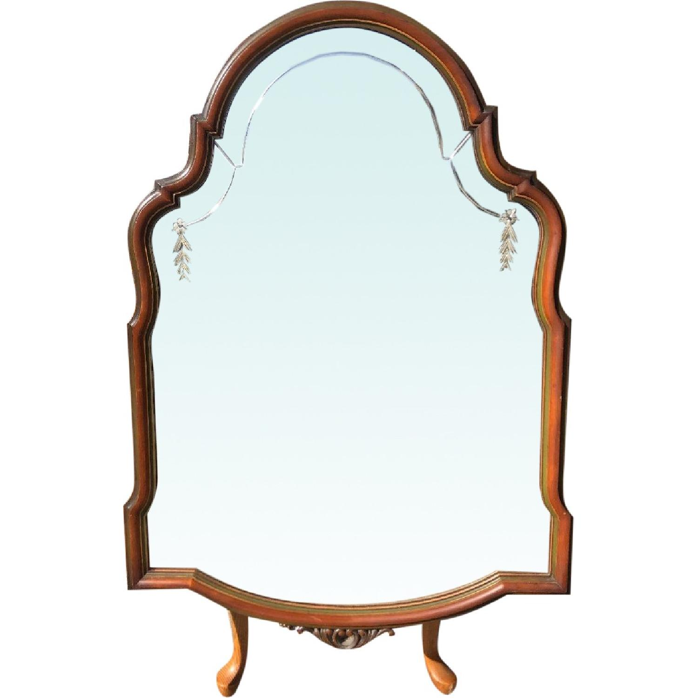 Antique 1920s Wooden Framed Engraved Mirror