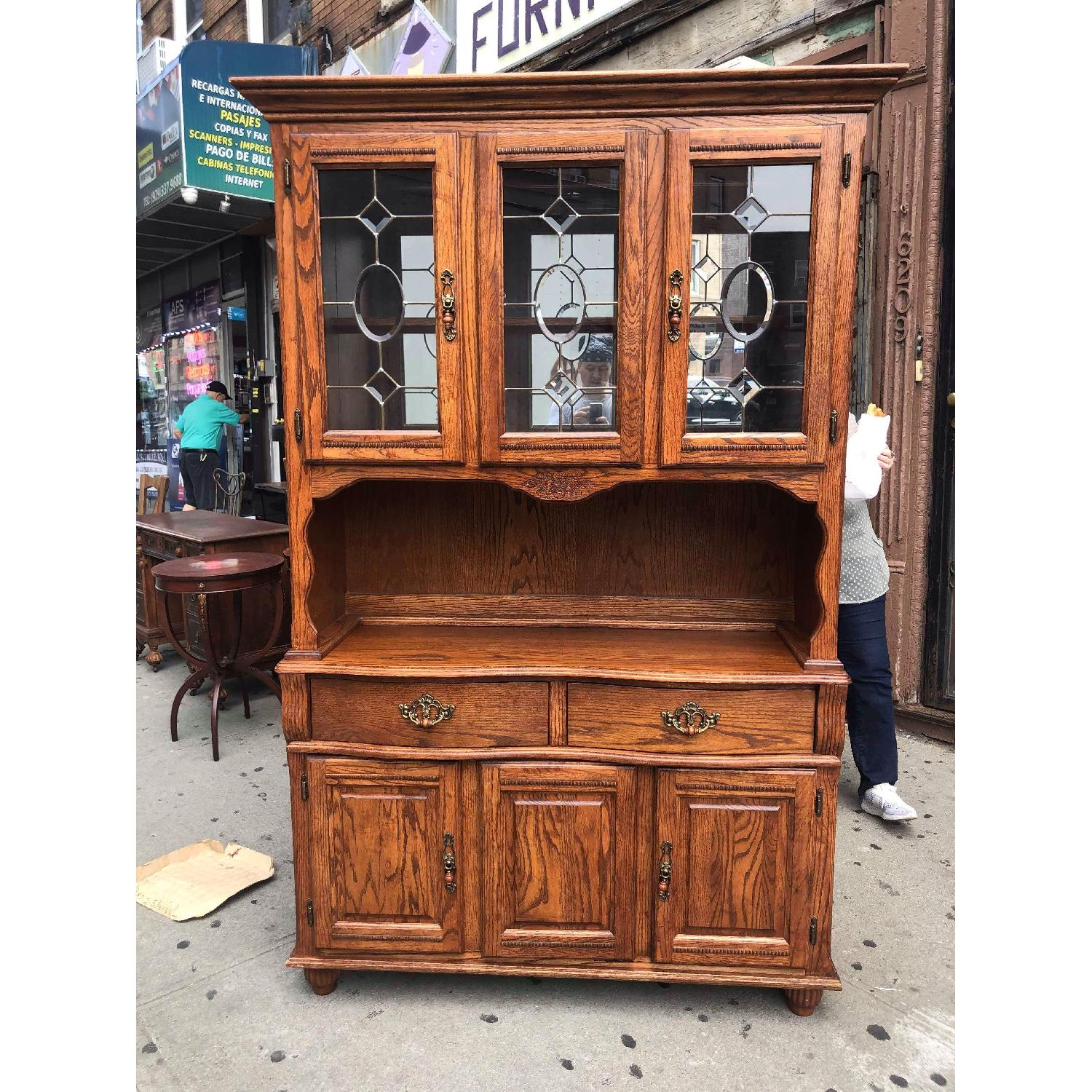 Solid Wood Early American Style Hutch w/ Lights - image-1