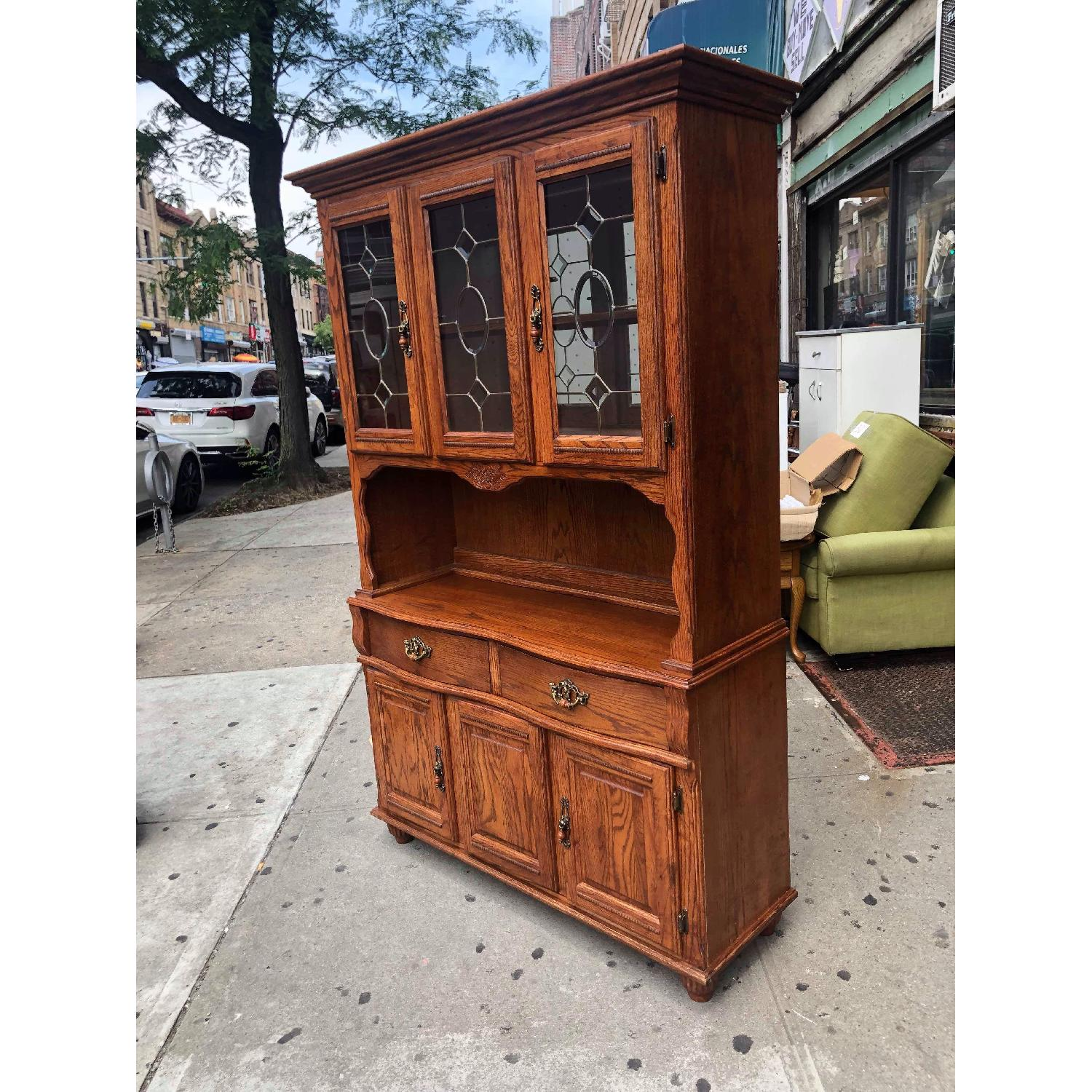 Solid Wood Early American Style Hutch w/ Lights - image-2