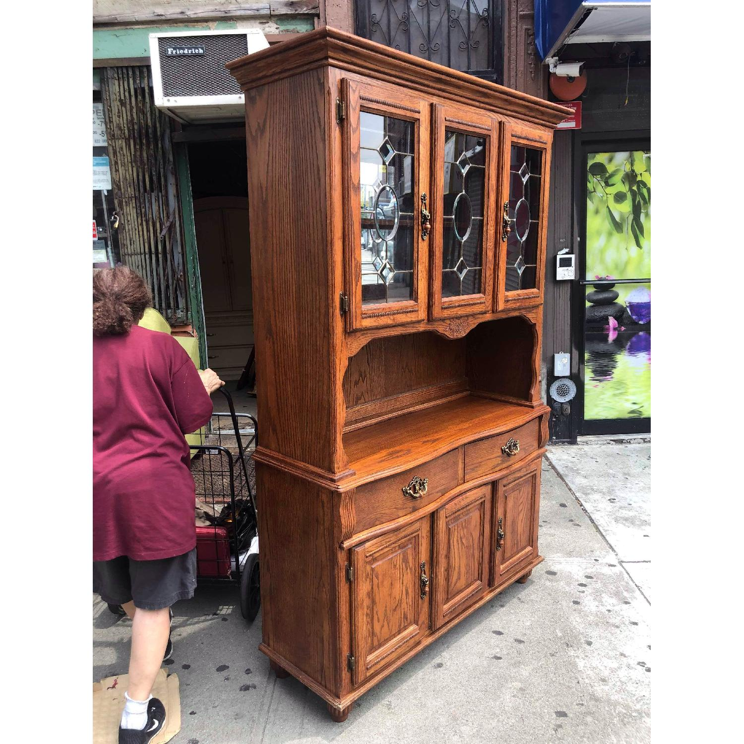 Solid Wood Early American Style Hutch w/ Lights - image-4