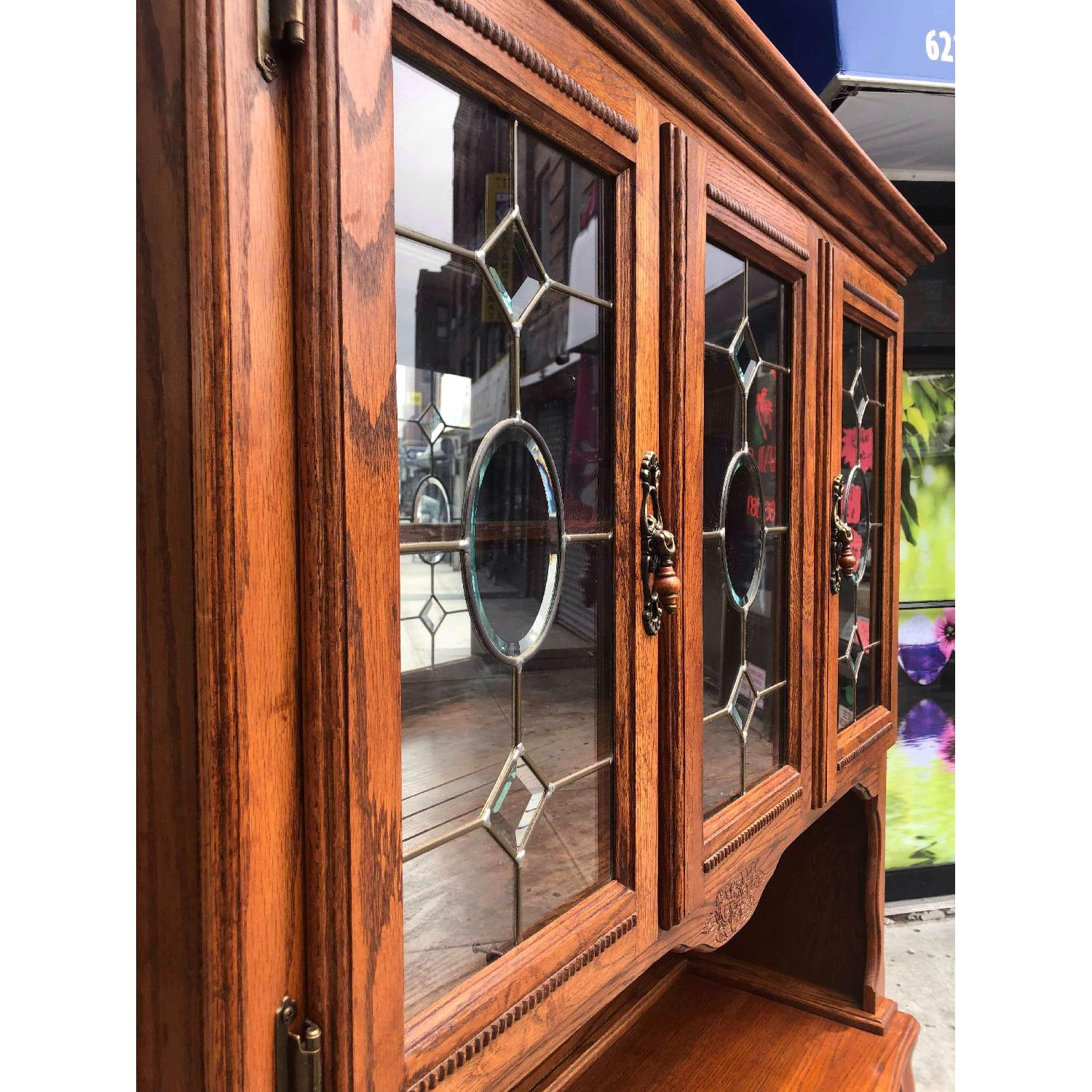 Solid Wood Early American Style Hutch w/ Lights - image-8