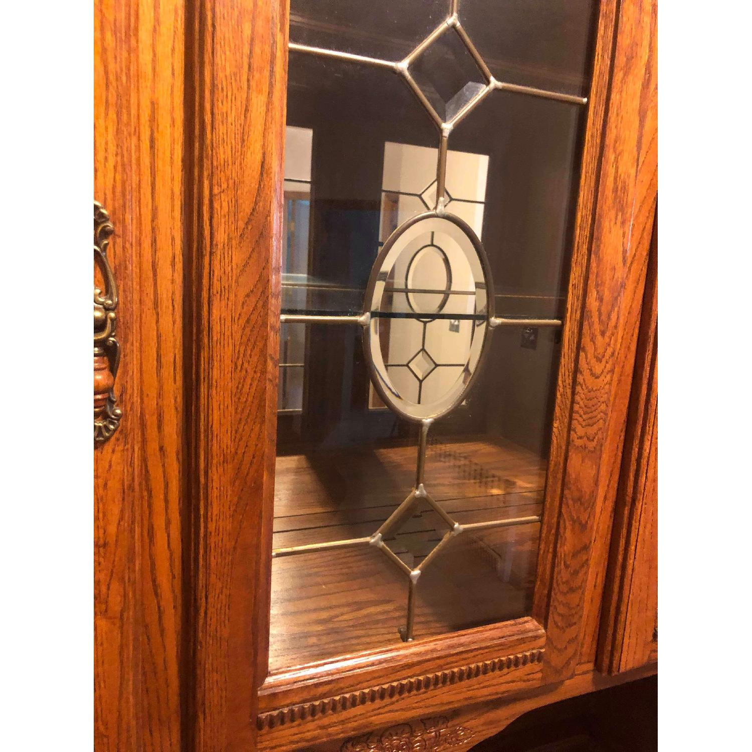 Solid Wood Early American Style Hutch w/ Lights - image-9