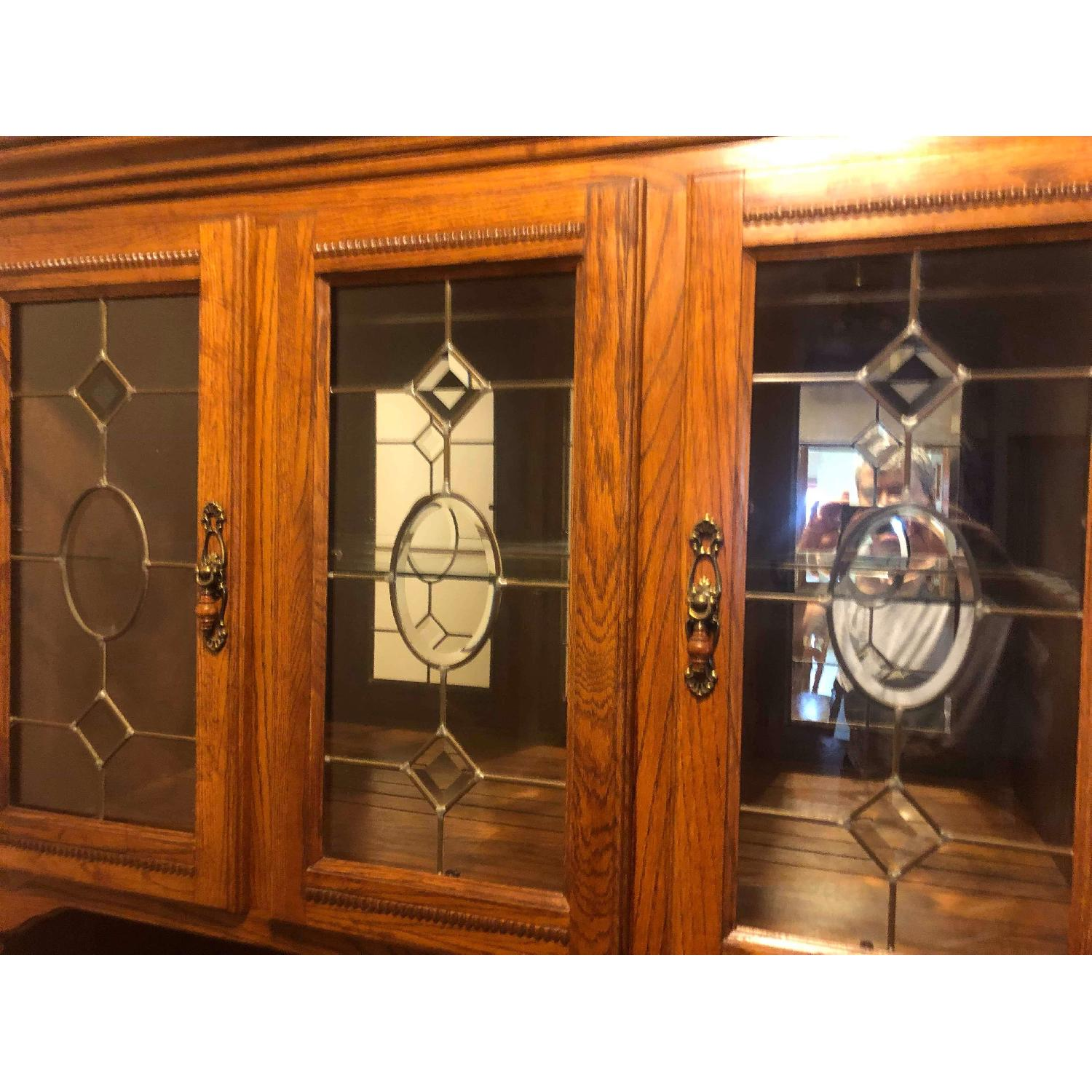Solid Wood Early American Style Hutch w/ Lights - image-12