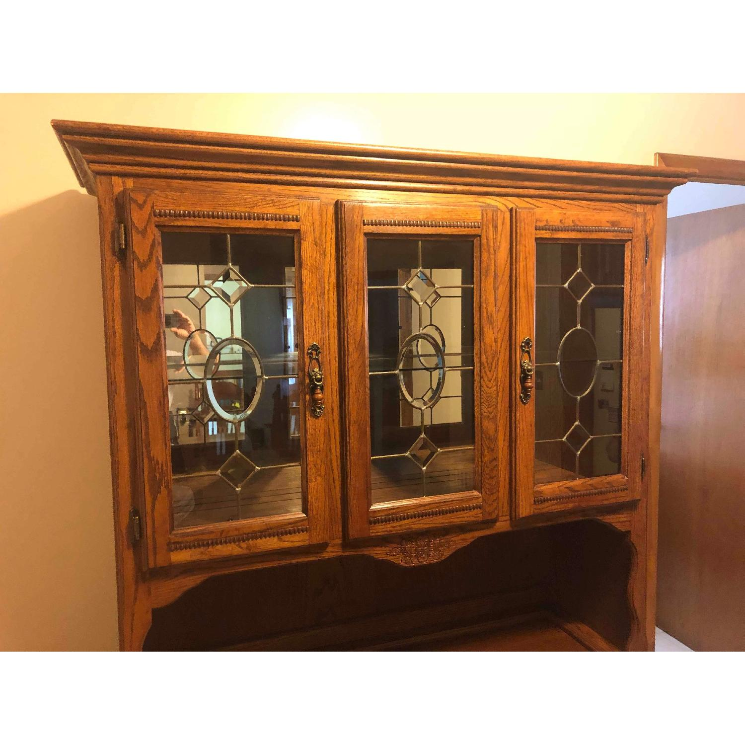 Solid Wood Early American Style Hutch w/ Lights - image-13