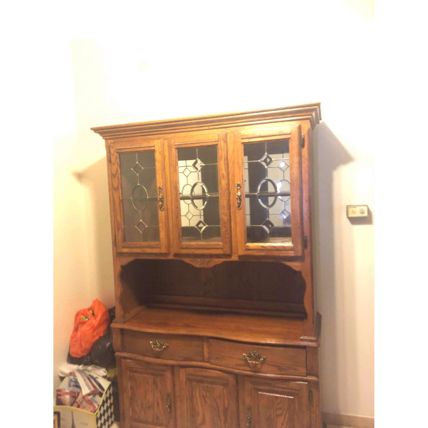 Solid Wood Early American Style Hutch w/ Lights - image-14
