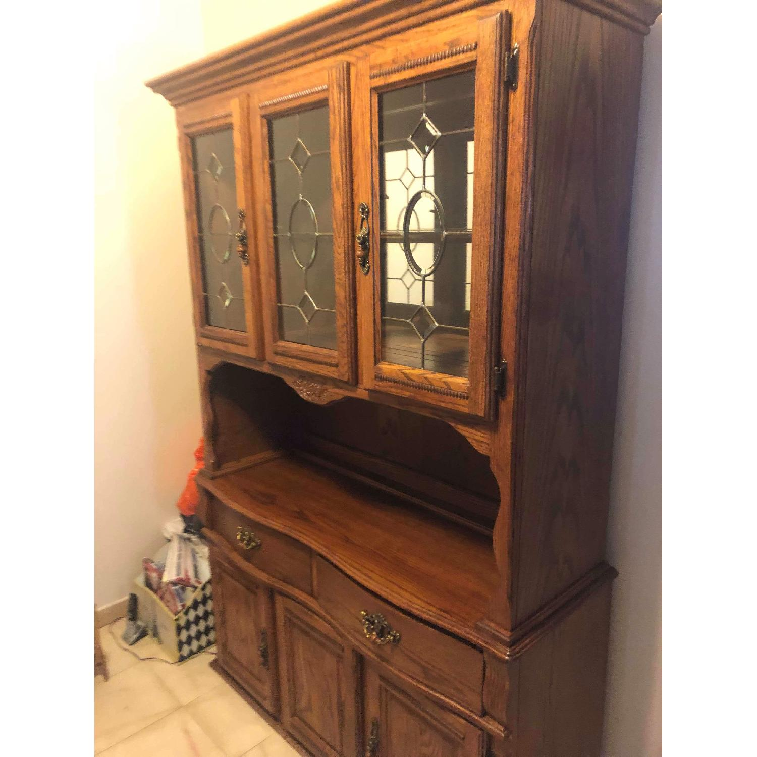 Solid Wood Early American Style Hutch w/ Lights - image-15