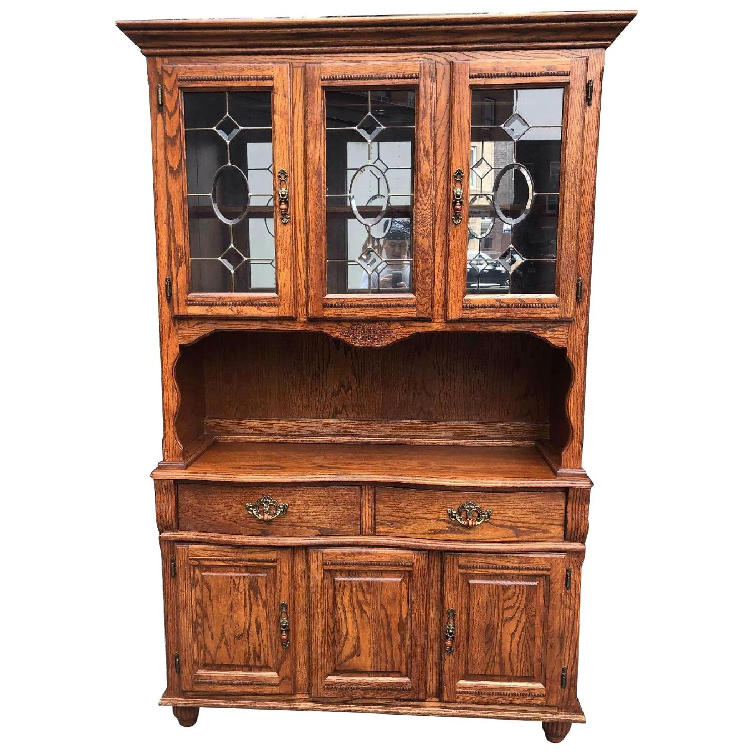 Solid Wood Early American Style Hutch w/ Lights - image-0