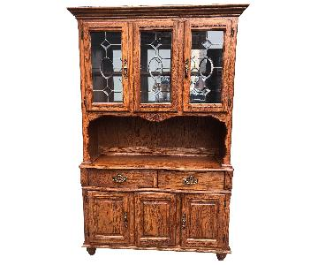 Solid Wood Early American Style Hutch w/ Lights