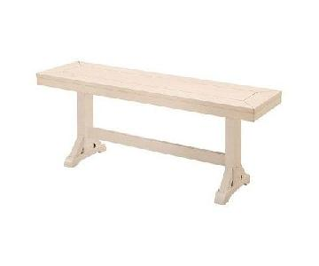 White Solid Wood Bench