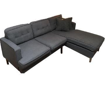 Right Facing Dark Grey Sectional Sofa