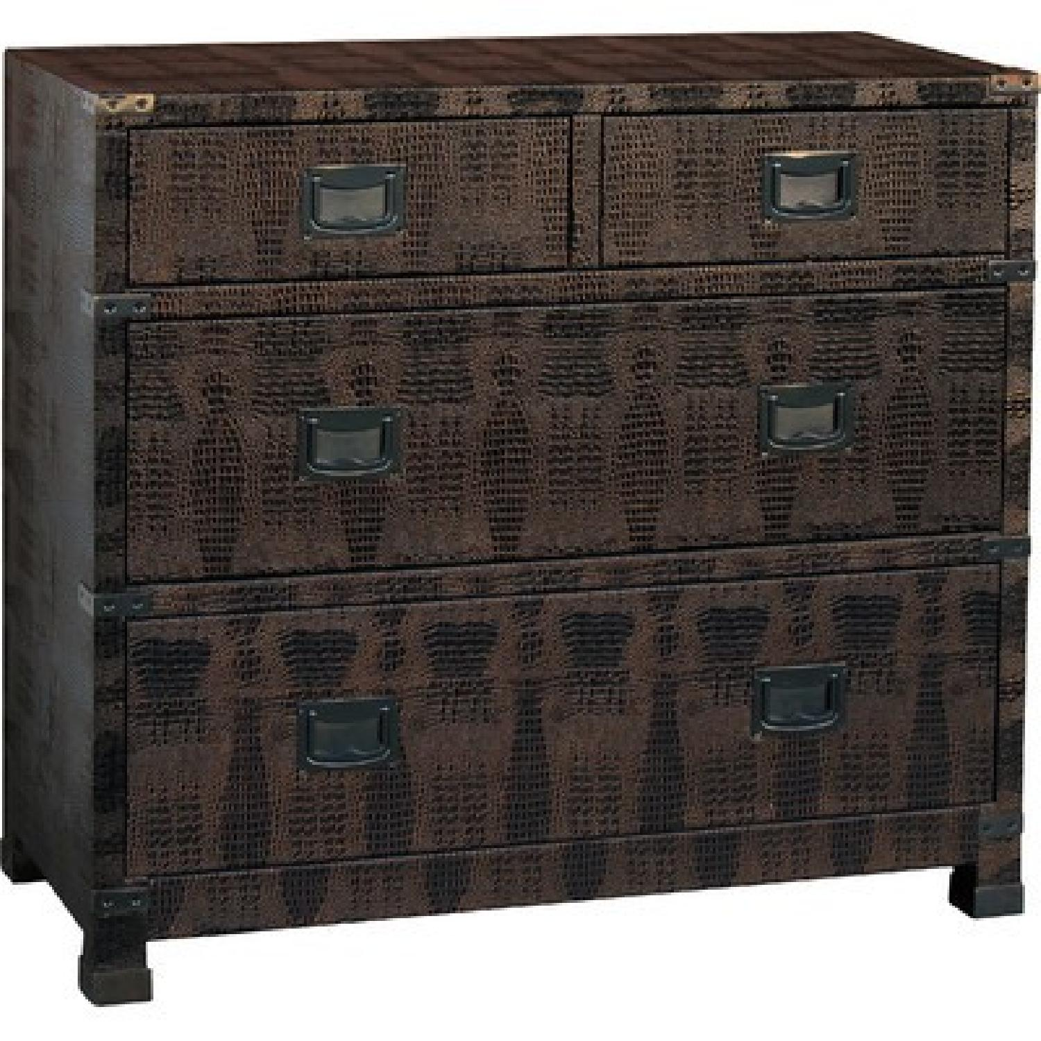 Accent Chest w/ Drawers in Dark Brown Faux Crocodile Finish - image-1