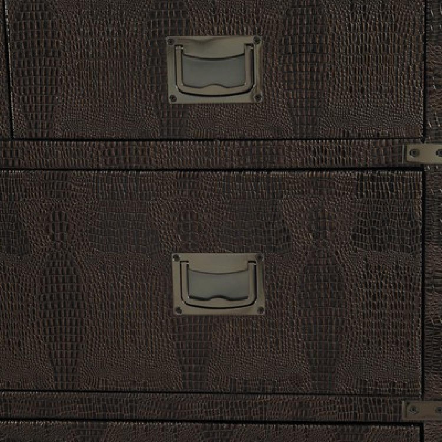 Accent Chest w/ Drawers in Dark Brown Faux Crocodile Finish - image-2