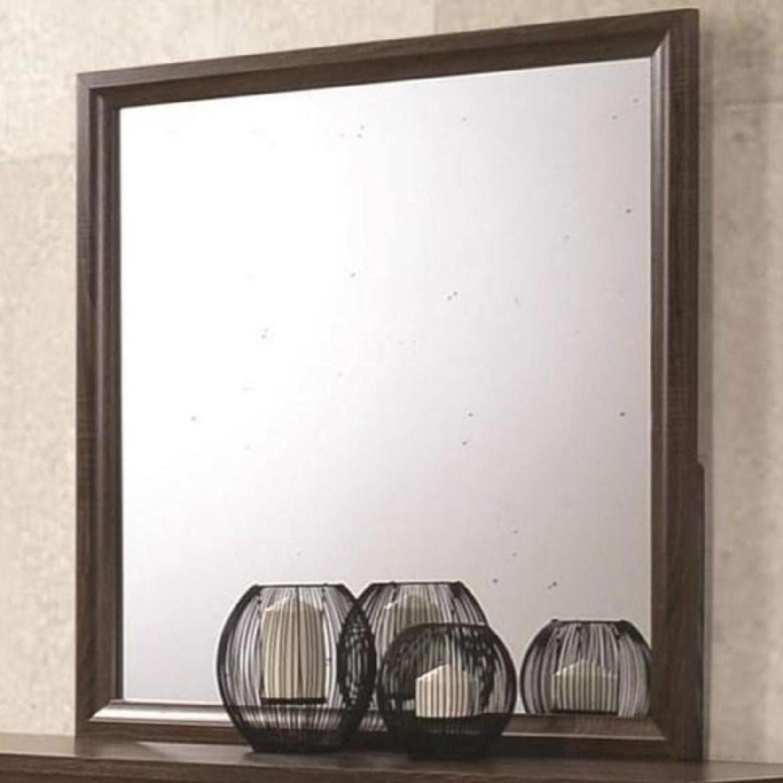 Transitional Dresser Mirror in Warm Brown Finish - image-1
