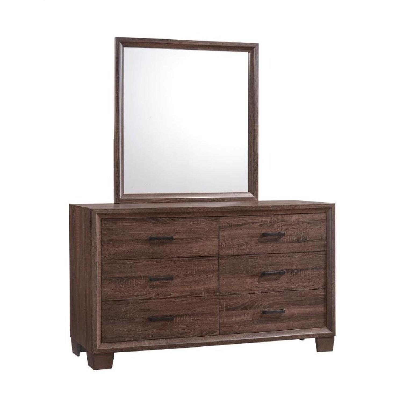 Transitional Dresser Mirror in Warm Brown Finish - image-3