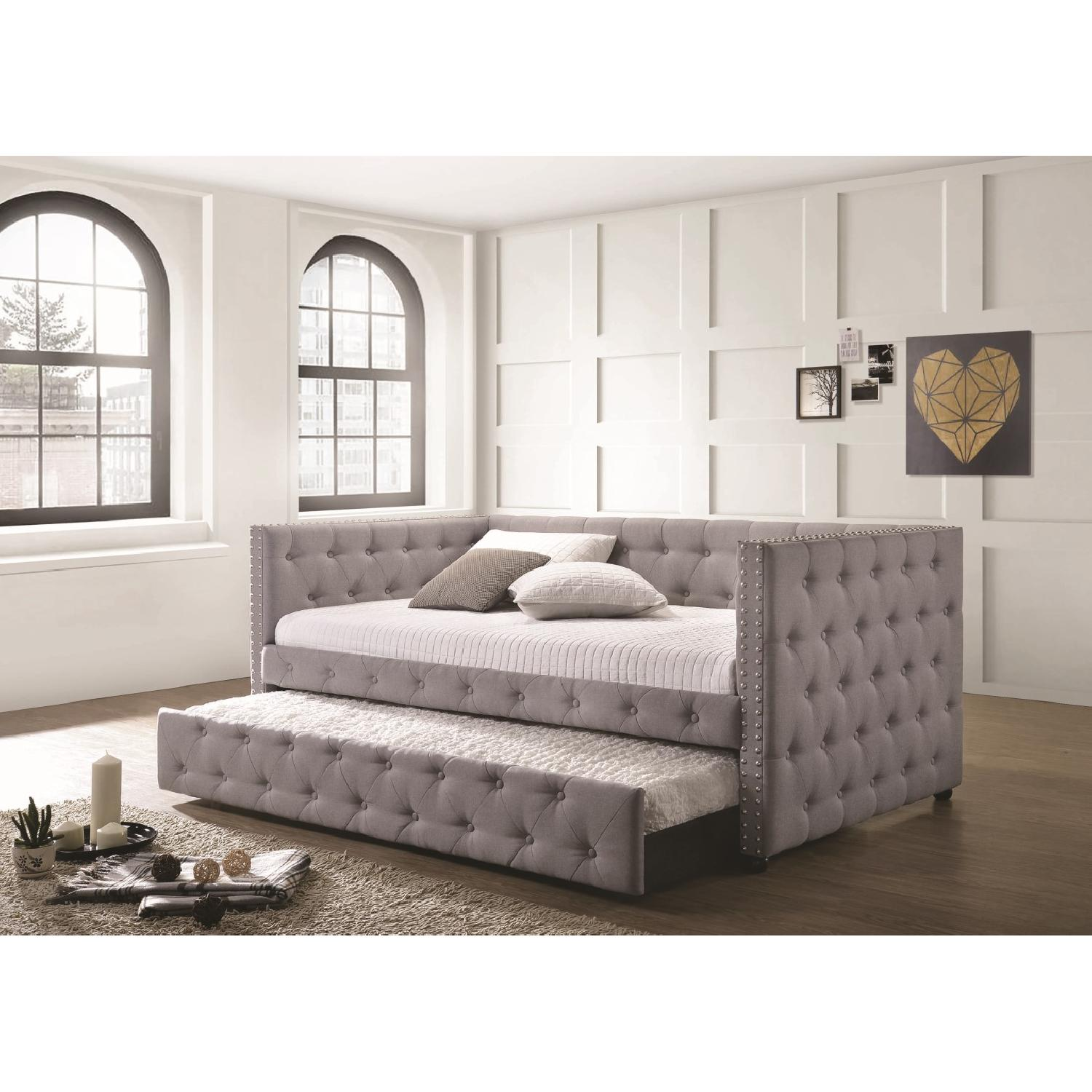 Modern Daybed w/ Trundle Upholstered in Light Grey Fabric - image-2