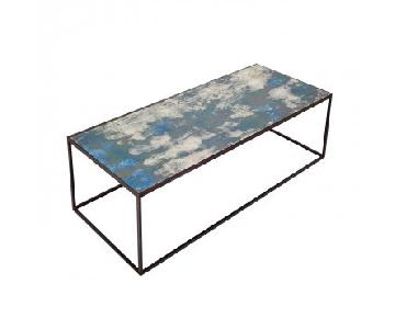 ABC Carpet and Home Echo Mirrored Coffee Table in Ocean Blue