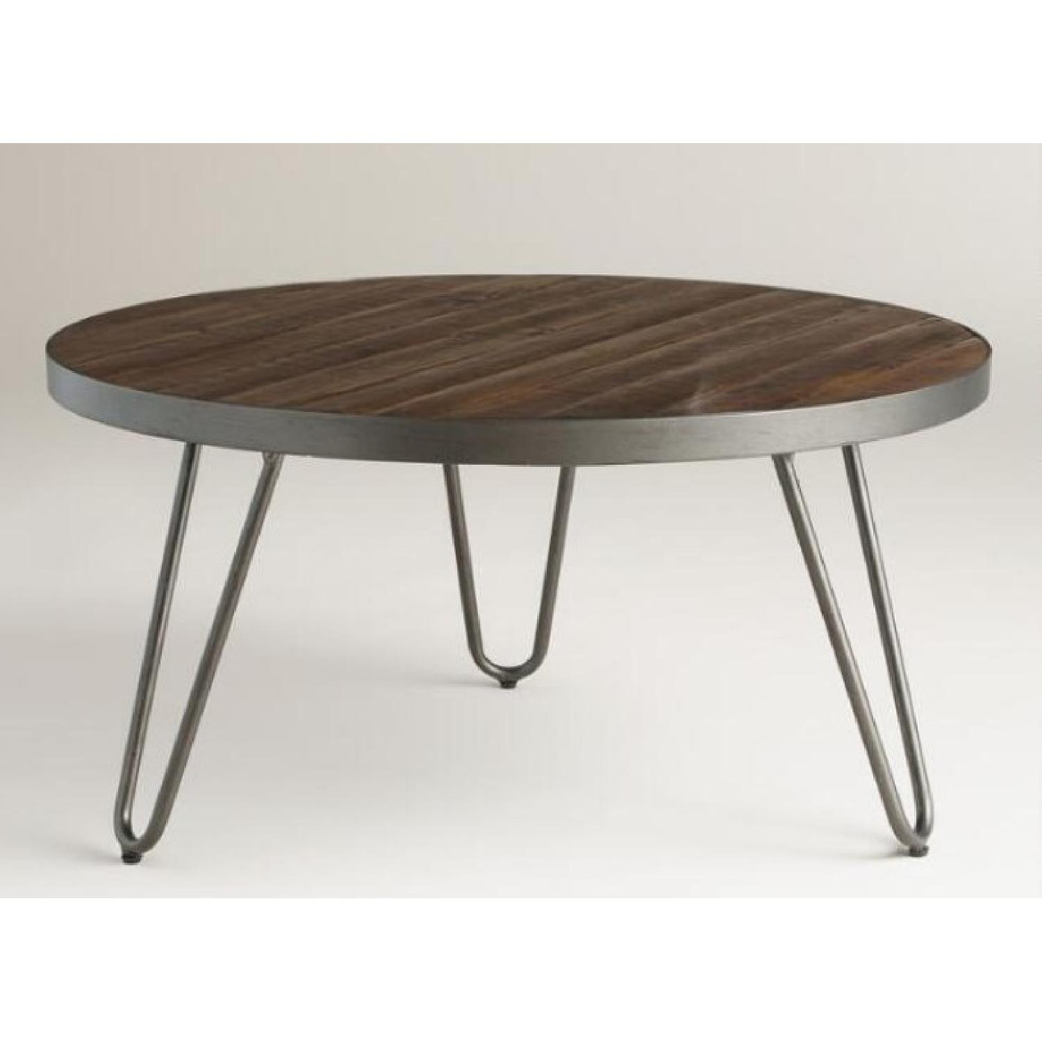 World Market Round Wood Hairpin Coffee Table - image-2