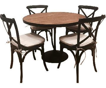 Restoration Hardware Aero Reclaimed Elm Table w/ 4 Chairs